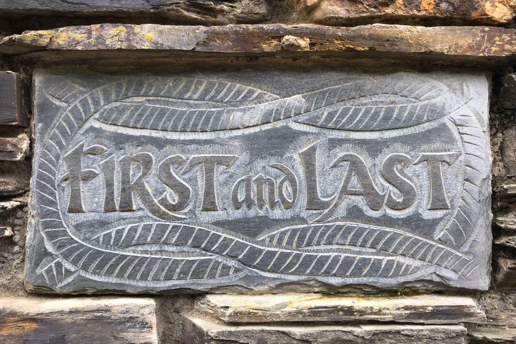 First and Last cottage stone plaque